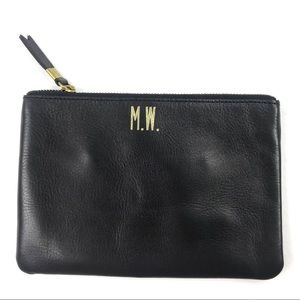 Madewell The Leather Pouch Clutch Monogram MW
